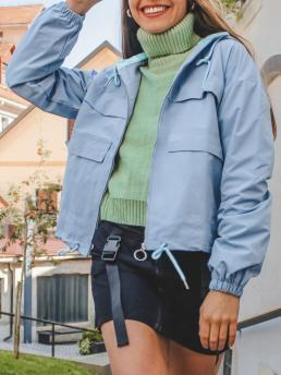 Sale Full Sleeve Wide-waisted Cotton,polyester Solid Full Zip Windbreaker Cargo Jacket