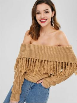 Autumn and Winter Tassel Others Nonelastic Full Off Short Regular Fashion Daily Pullovers Off The Shoulder Sweater with Tassel