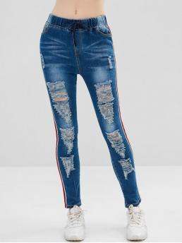 Elastic Fall and Spring Ripped Drawstring High Skinny Ninth Bleach Fashion Stripes Destroyed Skinny Jeans