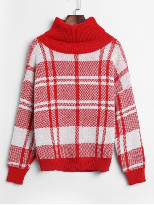 Autumn Plaid Nonelastic Full Drop Turtlecollar Regular Loose Casual Daily Pullovers Turtleneck Plain Drop Shoulder Jumper Sweater