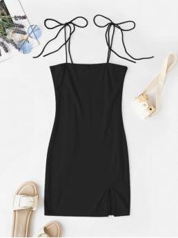 No Fall and Summer Elastic Solid Slit and Tie Sleeveless Spaghetti Mini Sheath Casual and Day Fashion Tie Shoulder Ribbed Slit Cami Dress