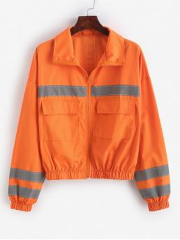 Autumn Pockets Others Zipper Turn-down Drop Full Regular Wide-waisted Fashion Jackets Daily and Going Reflective Neon Drop Shoulder Pocket Zip Jacket