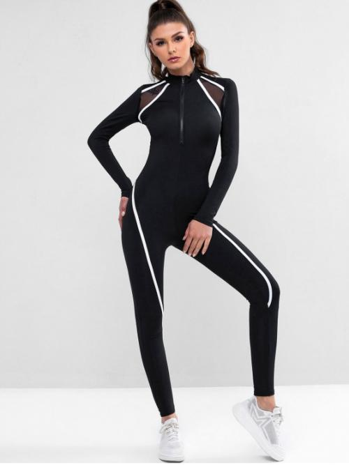 Fall No Zippers Others Elastic Long High Slim Fashion Daily and Sports Zip Front Mesh Panel Stretchy Unitard Gym Jumpsuit