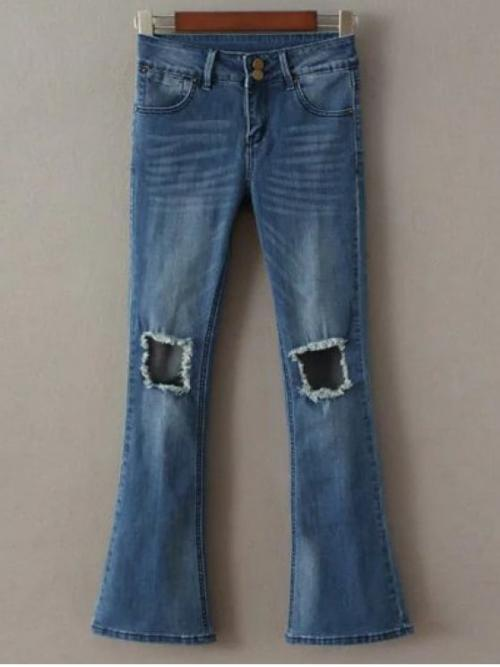 Boot Zipper Mid Boot Bleach Denim Normal Destoryed Boot Cut Jeans