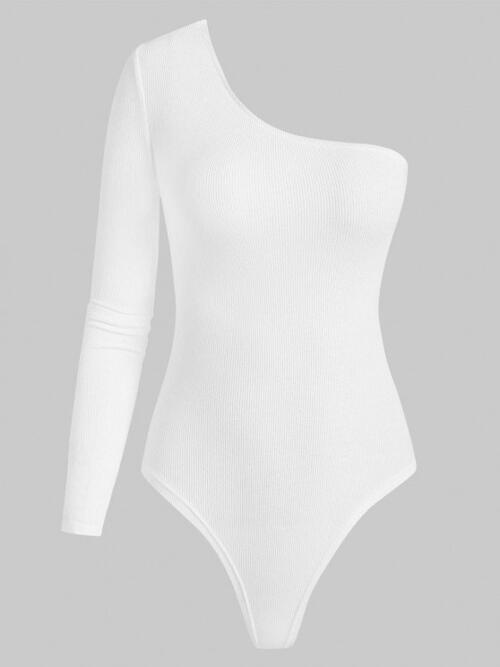 Long Sleeves Cotton,polyester Solid White One Shoulder Long Sleeve Bodysuit on Sale