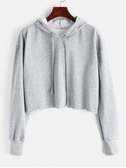Autumn and Spring Solid Full Short Crop Oversized Raw Cut Cropped Hoodie