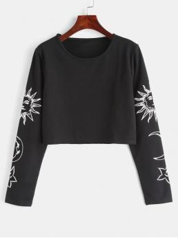 Autumn and Spring Moon and Star and Sun Nonelastic Full Round Crop Casual Sun Star Moon Print Crop Top