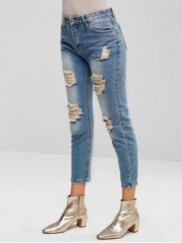 Spring Pocket and Ripped Zipper Skinny Normal Bleach Streetwear Pencil Ripped Zipper Fly Pocket Jeans