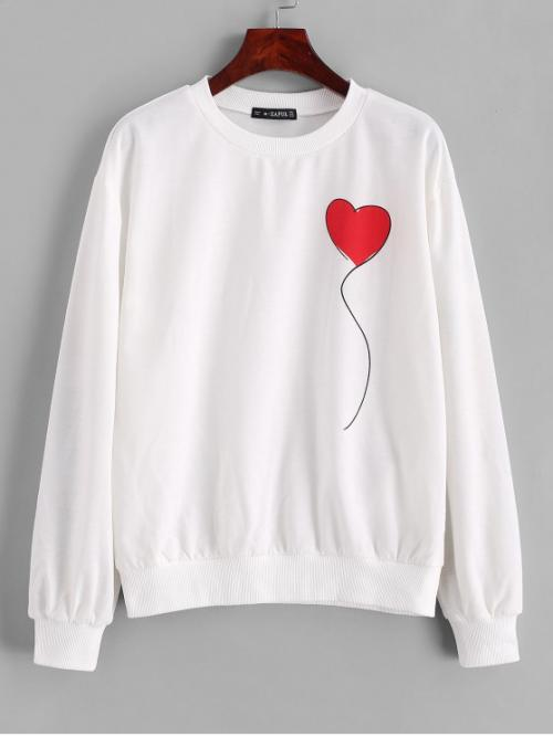 Autumn Heart Nonelastic Full Regular Crew Sweatshirt Crew Neck Heart Graphic Sweatshirt
