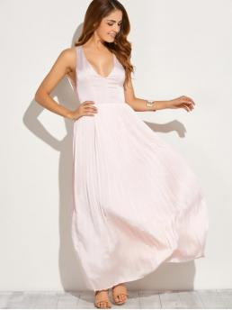 Summer No Solid Sleeveless Plunging Floor-Length A-Line Brief Cut Out Low Cut Maxi Long Prom Dresses