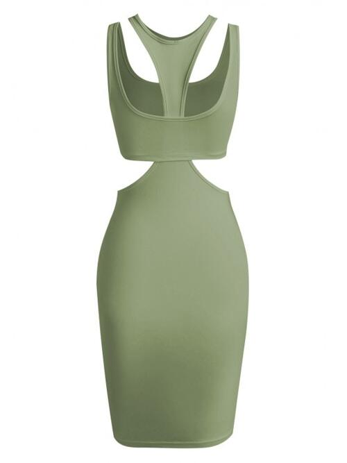 Beautiful Green Solid Sleeveless Polyester,spandex Crop Top and Slinky Cutout Tank Dress