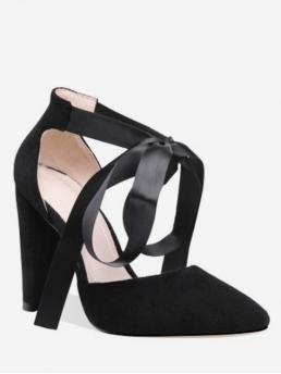 Spring/Fall and Summer Suede Rubber Party Chunky Pointed Closed Ankle-Wrap Lace-up Decoration Chunky Heel Pumps