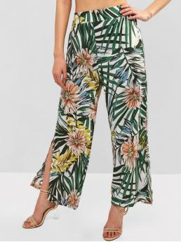 Spring and Summer No Elastic Wide Floral and Leaf and Plant Loose High Fashion Tropical Flower Leaf Split Wide Leg Pants