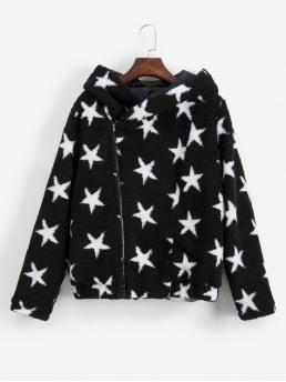 Winter Star Zipper Hooded Full Regular Wide-waisted Going Fashion Hooded Star Graphic Zipper Fluffy Teddy Coat