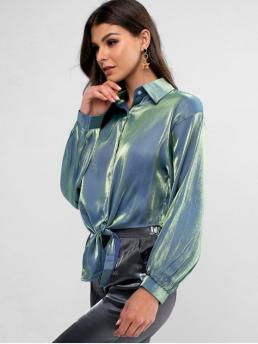 Autumn and Spring Solid Full Regular Shirt Fashion Daily and Outdoor Metallic Knotted Front Button Up Shirt