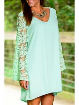 Fall No Solid Long V-Collar Straight Mini Cute V-Neck Long Sleeves Solid Color Lace Hook Dress
