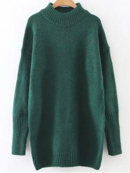 Fall and Winter Solid Fashion High Full Pullovers Long High Neck Sweater