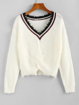 Full Sleeve Pullovers Polyacrylic Striped Twisted Sweater Clearance