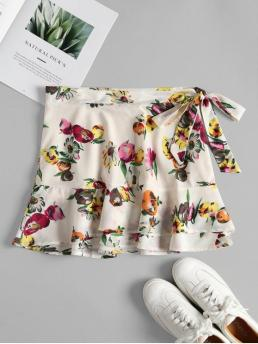 Summer Zipper Floral A-Line Mini Daily and Night Streetwear Floral Print Ruffle Layered Mini Skirt