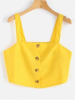 Standard Solid Square Short Cute Button Up Apron Neck Crop Top