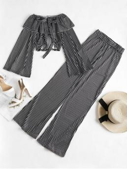Fall and Spring and Summer Striped Pleated Elastic High Long Off Regular Elegant Beach Bell Sleeve Crop Top Palazzo Pants Matching Set