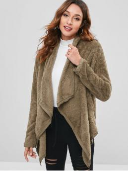 Autumn and Winter No Solid Turn-down Full Long Slim Daily and Going Fashion Open Front Faux Shearling Coat