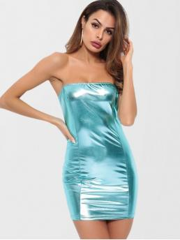 No Summer Solid Sleeveless Strapless Mini Bodycon Club and Night Brief Strapless Shiny Bodycon Dress