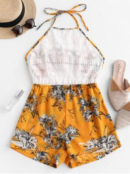 Summer No Tie Floral Nonelastic Sleeveless Halter Mini Regular Fashion Daily and Vacation Crochet Lace Tied Back Floral Halter Romper