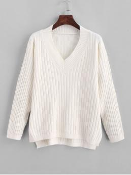 Autumn and Winter Slit Solid Elastic Full V-Collar High Regular Fashion Daily Pullovers Knitted High Low Slit V Neck Sweater