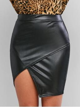 No Fall and Spring Elastic Solid Asymmetrical Mini Daily and Going Fashion Faux Leather Tight Asymmetrical Skirt