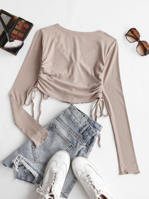 Affordable Full Sleeve Cotton,polyester Solid Light Coffee Cropped up Cinched Side Ribbed Tee