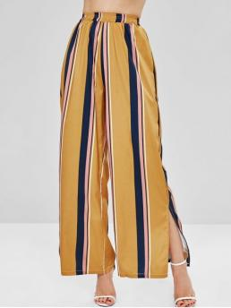 Fall and Spring and Summer No Elastic Wide Striped Loose High Casual Striped Wide Leg Side Slit Pants