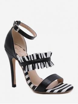 PU 12CM Ruffles Striped Buckle Stiletto Ankle Daily Fashion For Ruffle Ankle Strap Stiletto Heel Sandals