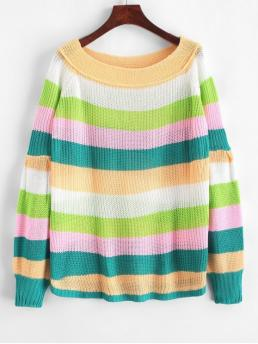 Autumn Striped Elastic Full Lantern Off Regular Loose Casual Pullovers Off Shoulder Lantern Sleeves Striped Sweater