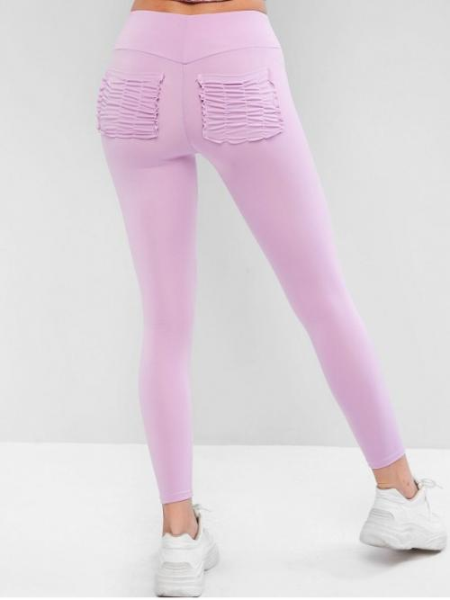 Fall and Spring 7/8 Ruched Solid High Running and Sports and Yoga Active High Waisted Ruched Back Pockets Leggings