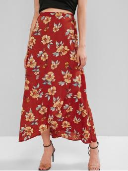 No Fall and Summer Tie Floral Asymmetrical Ankle-Length Beach and Vacation Fashion Flower Maxi Wrap Skirt