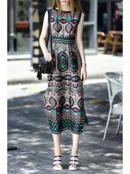 Summer No Print Sleeveless Ankle-Length Round A-Line Casual Vintage Pattern Sleeveless Dress