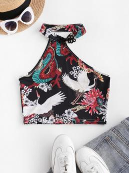 Clearance Polyester,spandex Floral Black Chinoiserie Frog Fastener Oriental Crane
