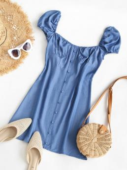 Discount Blue Solid Puff Sleeve Short Sleeves Buttoned Milkmaid Dress