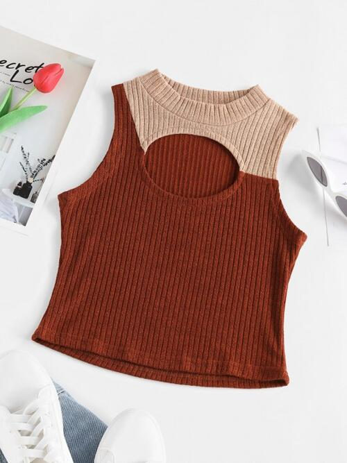 Polyester,polyurethane Others Deep Coffee Sexy Ribbed Cutout Two Tone Tank Top Affordable