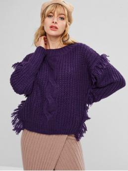 Autumn and Winter Solid Elastic Full Round Regular Loose Fashion Daily Pullovers Chunky Fringed Cable Knit Sweater