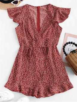 Summer No Lace Floral Short V-Collar Regular Casual Casual Lace Up Tiny Floral Surplice Romper