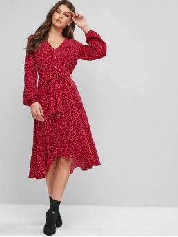 Yes Fall Print Button Long V-Collar Mid-Calf High Day Casual Buttons Printed Belted High Low Dress