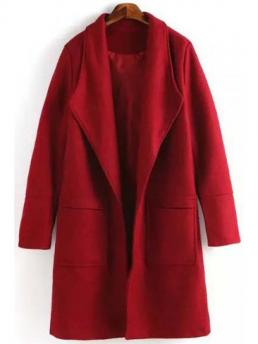 No Pockets Solid Turn-down Full Wide-waisted Worsted Wool Fashion Red Turn Down Collar Long Sleeves Coat