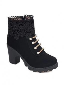 Spring/Fall and Winter PU 7CM Embroidery Solid Zip Chunky Round Ankle Fashion For Lacework Embroidery Short Boots
