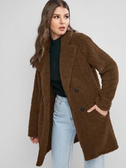 Full Sleeve Wide-waisted Polyester Solid Pocketline Faux Fur Coat Beautiful