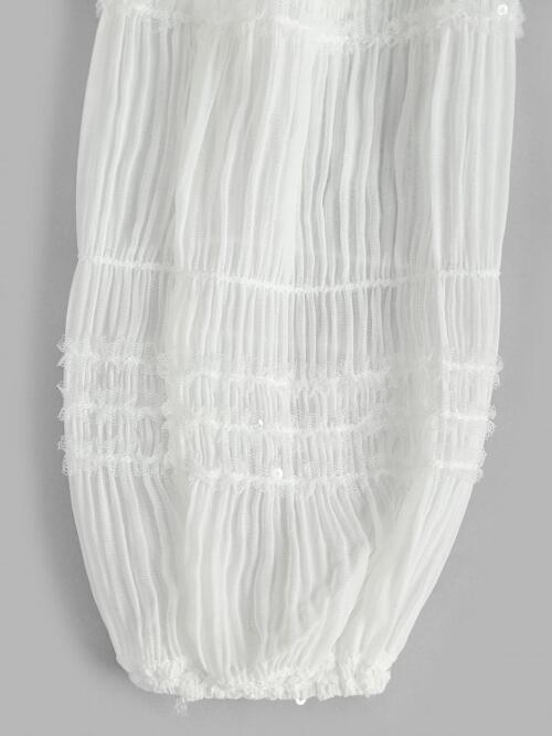 Full Sleeve Cotton,polyester,spandex Solid White Sheer Sleeve Frilled Ruched Blouse on Sale