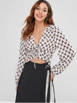 Tie Chevron/Zig Full Regular V-Collar Casual Daily Zigzag Graphic Tie Front Blouse
