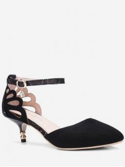 4CM Spring/Fall and Summer Suede Rubber Casual Stiletto Pointed Closed D'Orsay Hollowed Design Pointed Toe Pumps