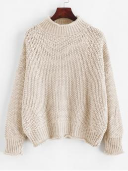 Autumn and Spring and Winter Solid Elastic Full Drop Mock Regular Loose Fashion Daily and Going Pullovers Drop Shoulder Rolled Edge Mock Neck Sweater